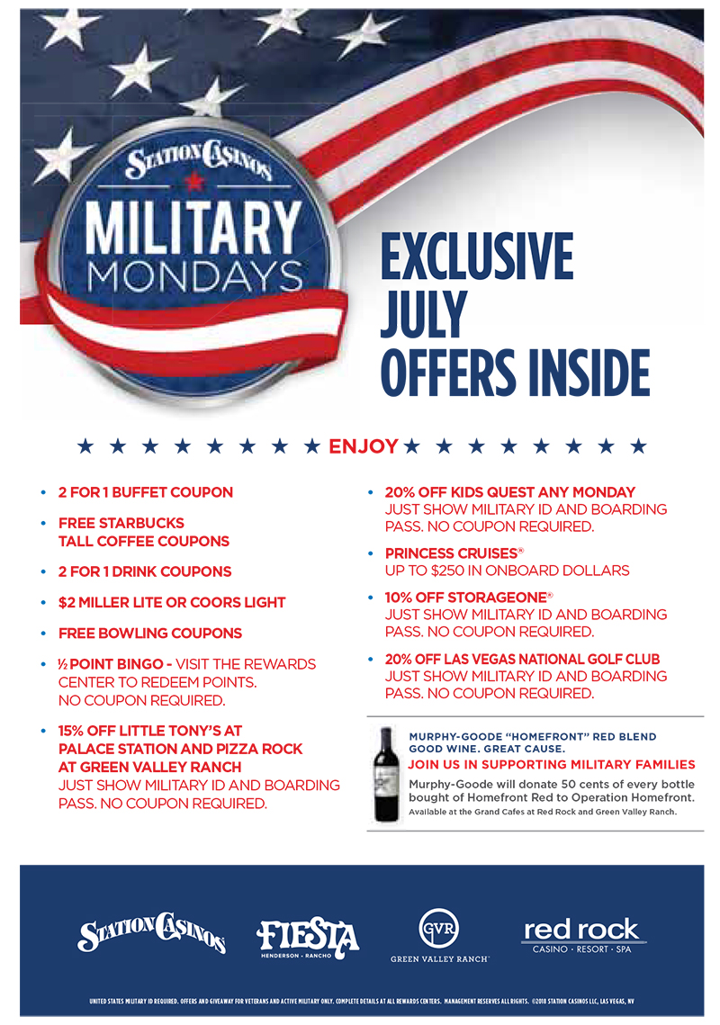 July Military Mondays Specials