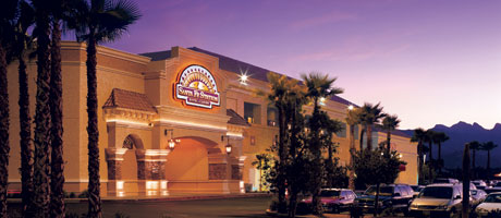 Exterior shot of Santa Fe Station Hotel & Casino at dusk