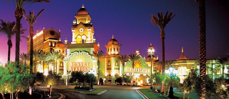 Exterior shot of Sunset Station Hotel & Casino at night